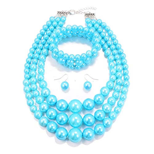 MJULY Womens Faux Pearl Costume Jewelry 3 Layers Pearl Chunky Necklace Bracelet and Earrings (Blue) ()