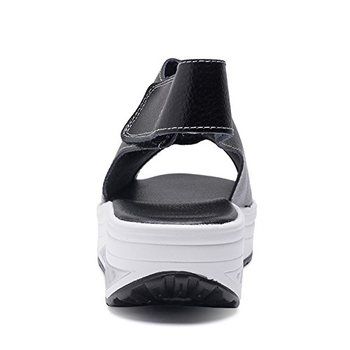 Zapatos negro Shape Women Black Sandalias ESDY 8 Toe Leather Peep Platform 5 EU40 891 Ups US Z0EEaq