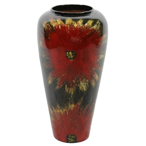Essential Décor Entrada Collection Lacquer Bamboo Vase with Antique Flower Accent, 18 by 9.05-Inch, (Antique Red Lacquer)