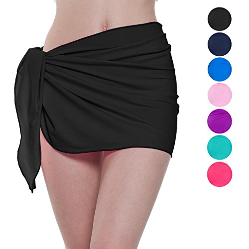 ChinFun Women's Soft Nylon Spandex Sarong Wrap Beach Swimwear Short Style Cover Up Pareo Swimsuit Wrap Solid Colors Black