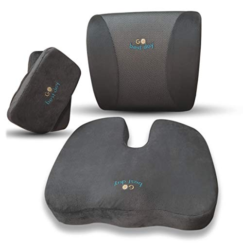 Memory Foam Cushion Support 3 in 1 Set. Back Lumbar Improve Spine Posture.Seat Relieve Coccyx Pain. 2 Armrest Pads. Ideal for Office and Gaming ()