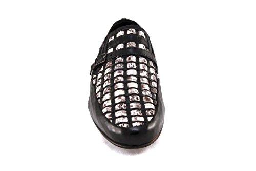 Carlo Ventura Mens Loafer I Läder Och Ormskinn Svart / Vit