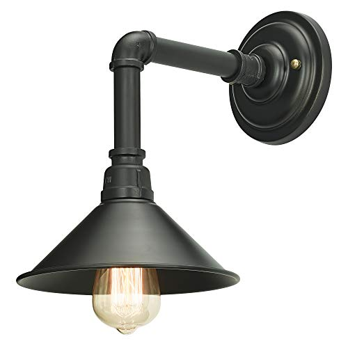 (Home Luminaire 31698 Douglas 1-Light Industrial Pipe Sconce with Metal Shade, Black)