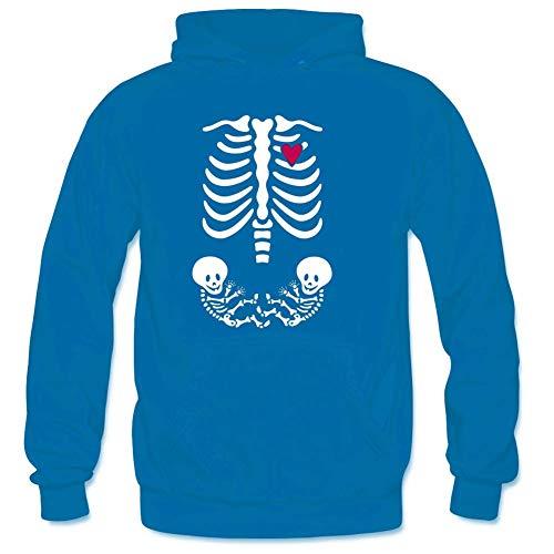 Bart Perkin Men's Skeleton Maternity Xray Twins Male Hooded Sweatshirts XXL Blue
