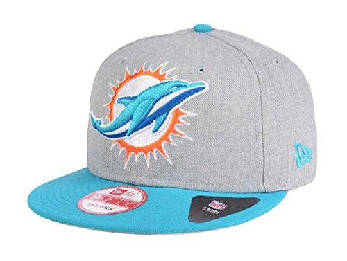 New Era Miami Dolphins Snapback 9Fifty Heather Grand Cap Hat Grey Wool Teal - Miami Dolphins Heather