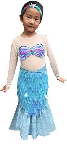 So Sydney Deluxe Girls Mermaid Costume & Accessories, Kid Toddler Halloween Dress-Up (M (5/6), Mermaid -