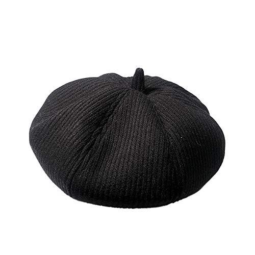 Womens Knit Hats French Beret Lightweight Pumpkin Cap Casual Classic Beret Hat (Black)