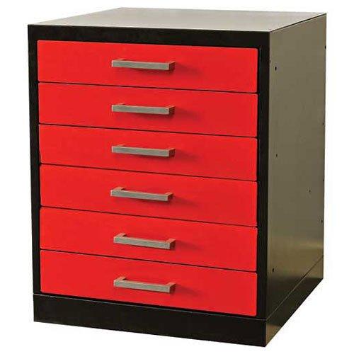 Fort Knox Workbench Pedestal-6 Drawer, 18''x24''x 32'', Black Body, Red Doors