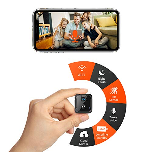 🥇 CreateGreat Mini WiFi Cámara espía Cámara de seguridad inalámbrica con 2 vías de audio