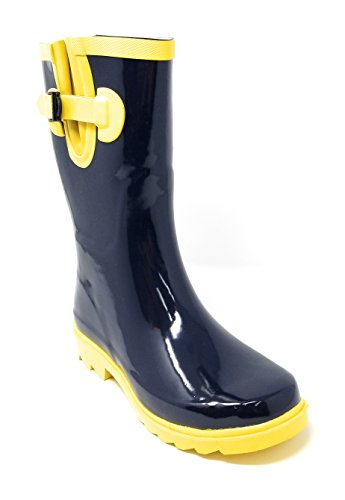 yellow and navy rain boots - 1