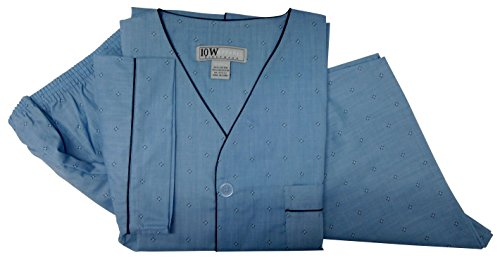 TEN WEST Apparel Mens Cotton Yarn Dyed Short Sleeve Short Leg Printed Pajamas Set (Small, Lt Blue Dots)