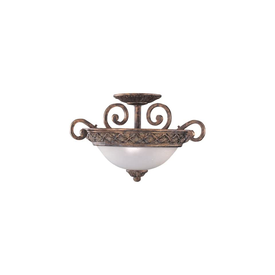 Sea Gull Lighting 75251 758 3 Light Highlands Close to Ceiling Fixture, Dusted Ivory Glass Bowl and Regal Bronze