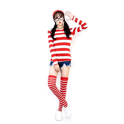 Bisika Cos Red and White Stripes Costume,Where's Waldo Costumes,Halloween Cosplay T-Shirt Shirt for $<!--$26.99-->