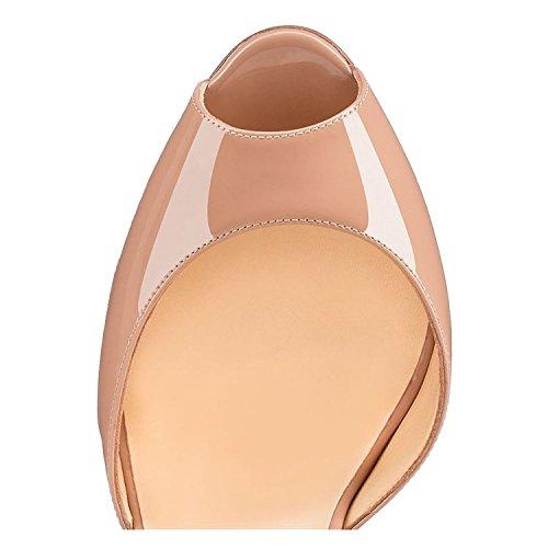 Arc-en-Ciel zapatos de mujer peep toe tachonadas sandalia de tacón Nude