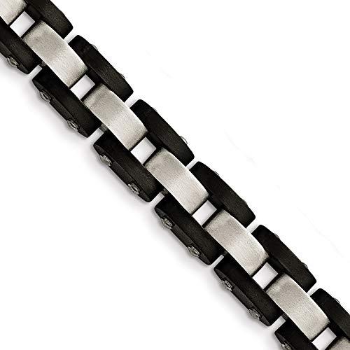 (Stainless Steel Black IP-Plated Brushed Link Bracelet 8