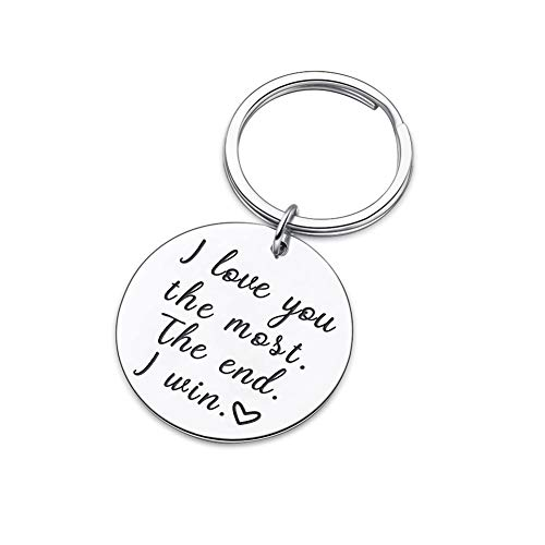 Couple Key Chain Gifts for Him Her-Husband for Girlfriend Boyfriend Wife Keychain Gifts for Anniversary Birthday Wedding Gifts from Wifey Hubby Valentine Day Gifts-I Love You Most The End I Win