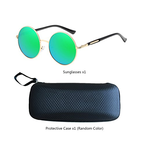 estuche Gold Polarized Fashionable Womens Zhuhaitf Sunglasses Round de Frames Mens Con Oversized Design amp;green gafas Mirror Unisex for Fvvx1a