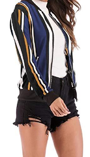 Jacket Zip Women's Print Sleeve Baseball Long XINHEO Collar Pockets Pattern6 Stand Coat HZWavc