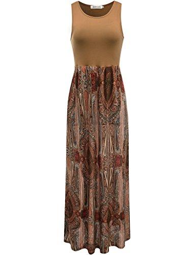 Aphratti Women's Bohemian Sleeveless Maxi Long Dress with Elastic Waistband Medium Coffee Print