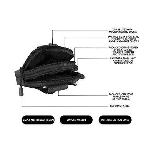 [+ Mini LED] Tactical MOLLE EDC Beutel Outdoor Reisen Sport Taktische Tasche Bauchtasche, Yosemy Gürteltasche Handytasche Tasche Waist Bag-Multifunktional für Camping Reise Wandern