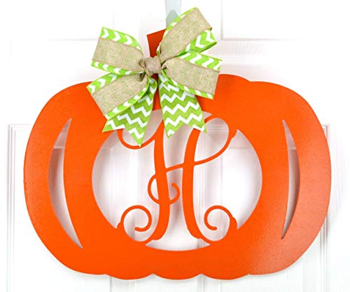 Pumpkin Initial Door Hanger | Halloween Wreath | Orange Brown Green Bow]()