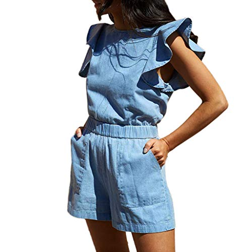 (F_topbu Women's Casual Jumpsuits Short Women Ruffles Pockets Sleeveless Denim Playsuit Clubwear Jumpsuit and Romper )