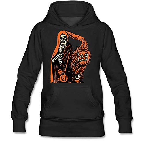 Personality Women's Shrouded Skeleton Pumpkin Long Sleeve Hooded Sweatshirt Gloomy S Black