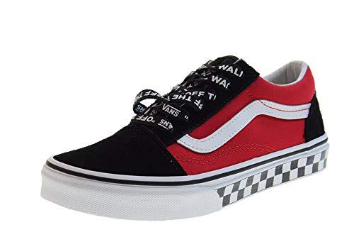 (Vans Kids Logo Pop Old Skool Boy's Skate Shoes (13 M US Little Kid, Logo Pop Black Red True White))