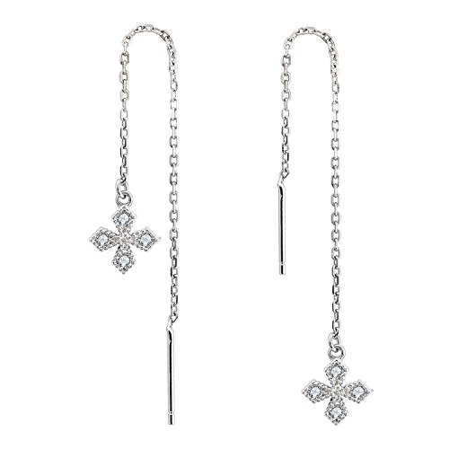 Cross Threader (D-DANGLE Cross Chain Threader Earrings Cubic Zirconia Sterling Silver Long Drop Earrings for Women)