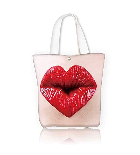 canvas tote baghe shape sexy lips for saint valentine kiss reusable canvas bag bulk for grocery,shopping W21.7xH14xD7 INCH