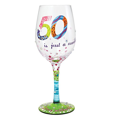 """Designs by Lolita """"50 is Just a Number"""" Hand-painted Artisan Wine Glass, 15 (Balloons Design Wine Glass)"""