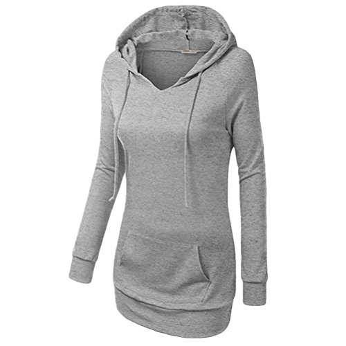 Zhuhaitf High Quality Ladies Drawstring Hooded Sweater Long Sleeve Package Hip Dress Tops Solid Color Hermoso para las mujeres Gray