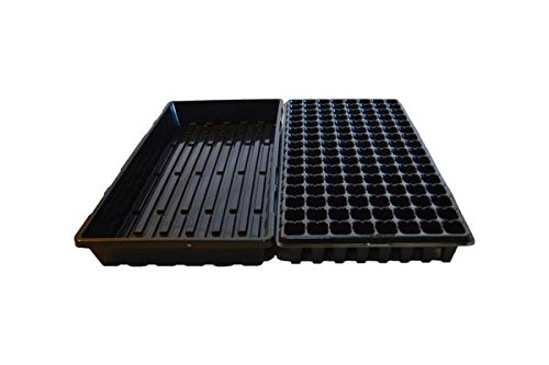 128 Cell w/ 1020 Flat Seedling Starter Trays Extra Strength 10 Pack Combo - Seed Planting Insert Plug Tray, Soil & Hydroponics Plant Growing Plugs by Bootstrap Farmer by Bootstrap Farmer