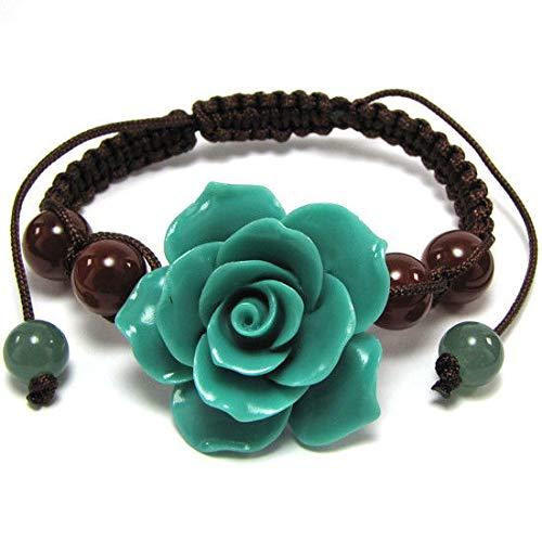 34mm Braided Adjustable Synthetic Coral Carved Rose Flower Bracelet 7