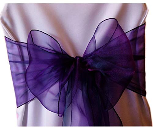 mds Pack of 50 Organza Chair sash Bow Sashes for Wedding and Events Supplies Party Decoration Chair Cover sash -Cadbury Purple