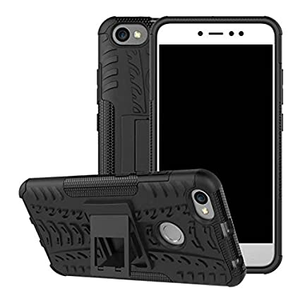 new arrival 2ad58 afe72 TARKAN Redmi Y1 Armour Case - Hard Hybrid Rugged Bumper Kick Stand Back  Cover [Black]
