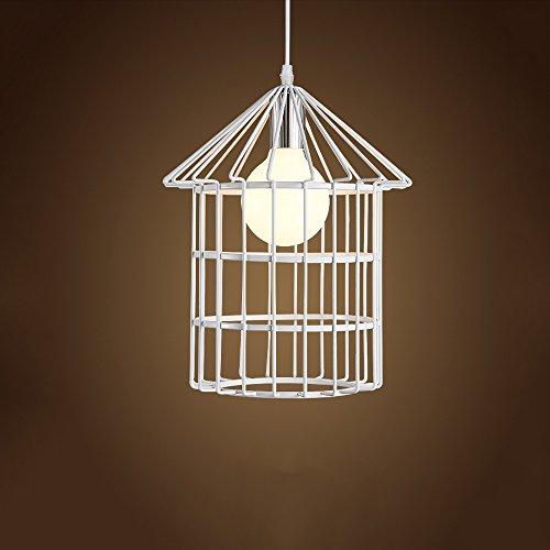 (KMXY Creative Bird Cage Iron 1-Light Chandelier Art Ceiling Pendant Lamp Bedroom Restaurant Aisle Halloween (Color : White))