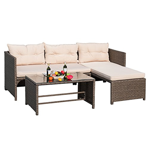 Devoko 3 Pieces Rattan Sectional Garden Patio Furniture Sets clearance All-Weather Wicker Porch Furniture Sets Sofa With Cushion Glass Coffee Table (Tan Sectional Sofa)