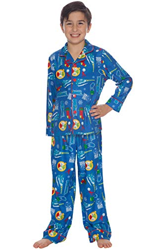 Polar Express Kids Coat Front Pajama Set, Blue, 6/7]()