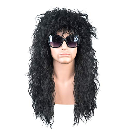 SiYi 70s and 80s wig Long Black rocks wig for mens Halloween stars black men wig spiral wave fluffy natural -