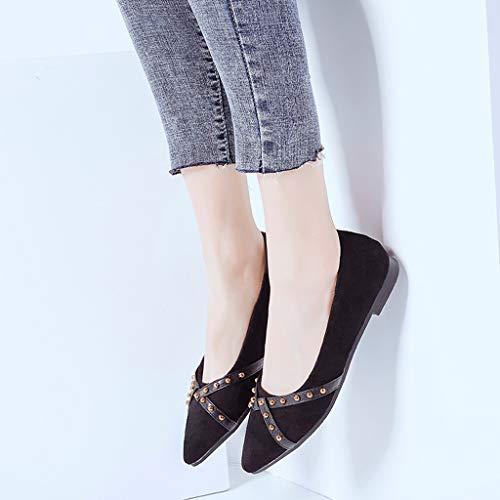 Slip Casual 2019 Été Bout Mode on Chaussures Pour De Pointu Femmes Rivets Femme Mocassins Nouveau Sonnena Plate Simples À Chaussure Noir Printemps zwZqg