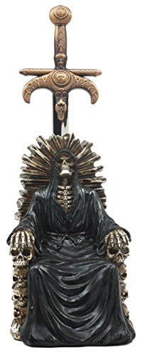 Ebros Legend of The Swords Night King Grim Reaper Seated On Ossuary Skulls Throne Letter Opener Statue with Blade of Ragnarok Sword 8.25