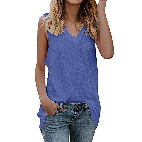 Sttech1 Tank Vest Tops for Women, Women Casual Comfy V-neck Sleeveless Loose Fit Tunic T-shirts