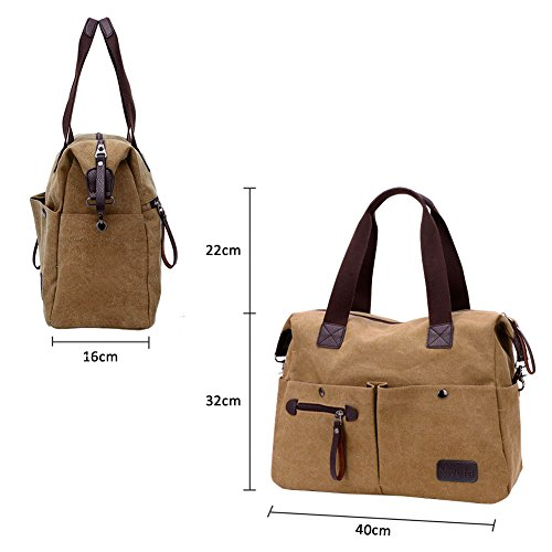 School Handbag Tote Office Handbag Nlyefa Khaki Bag Vintage for Canvas Shopping Bags Travel Womens Hobo Shoulder Large Eq07gq
