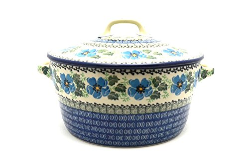 Polish Pottery Baker - Round Covered Casserole - Morning Glory Polish Pottery Round Covered Dish