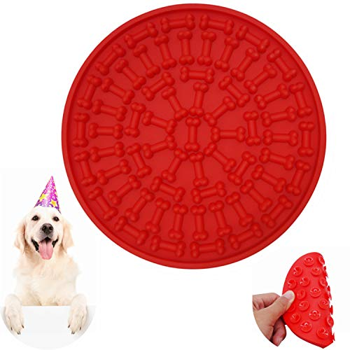- Helpcook Dog Lick Pad, Dog Washing Distraction Device,Pet Bath Grooming Helper,Slow Treat Dispensing Mat-Super Strong Suction Force-Just Add Peanut Butter to Make Bath Time Funny(Red)
