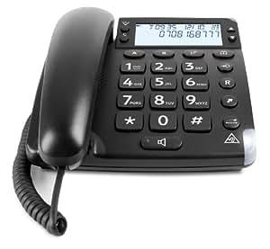 Doro Magna 4000 - Teléfono (Teléfono analógico, Altavoz, 50 entradas, Identificador de llamadas, Negro)