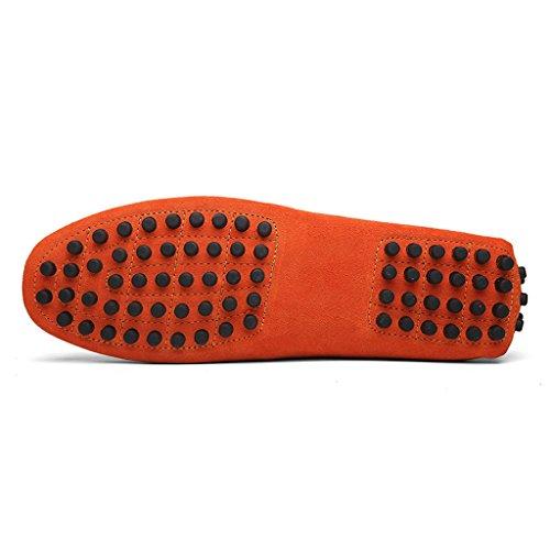 Eagsouni Mocasines Pisos de Gamuza Hombres Loafers Casual Zapatos de Conducción Zapatillas Naranja