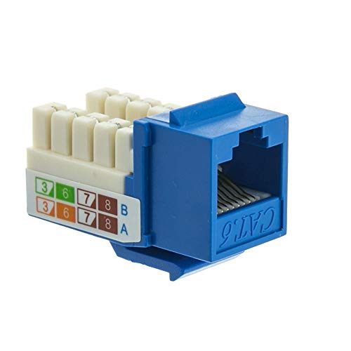 GOWOS (10-Pack) Cat6 Keystone Jack, Blue, RJ45 Female to 110 Punch Down