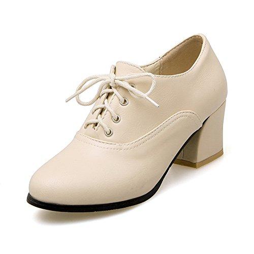 BalaMasa Womens Bandage Round-Toe Chunky Heels Round-Toe Bandage Urethane Oxfords Shoes B072N72SJH Shoes d6054b